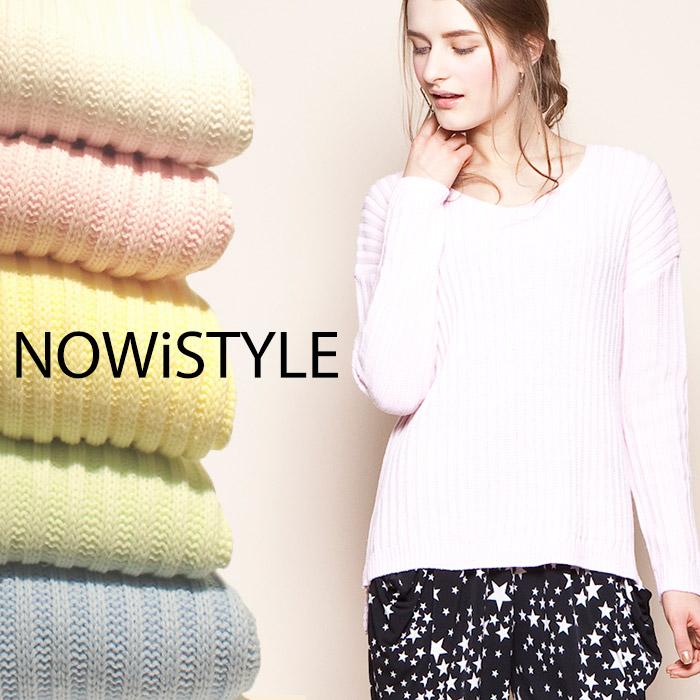 ニット通販〜nowistyleブランドのVネックリブ編みスプリングニット/パステル/春/セレブファッション
