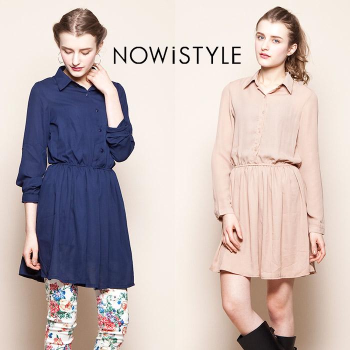 ワンピース通販〜nowistyleブランドのシフォンブラウスワンピース/春/セレブファッション