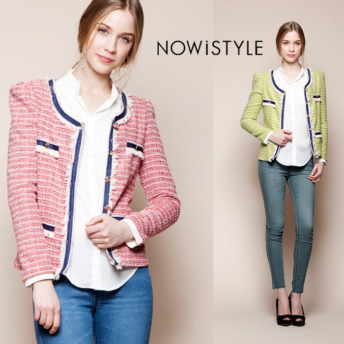 2カラーバイアス配色ジャケットカーディガン/春/セレブファッション/スプリングコート/OL/オフィス