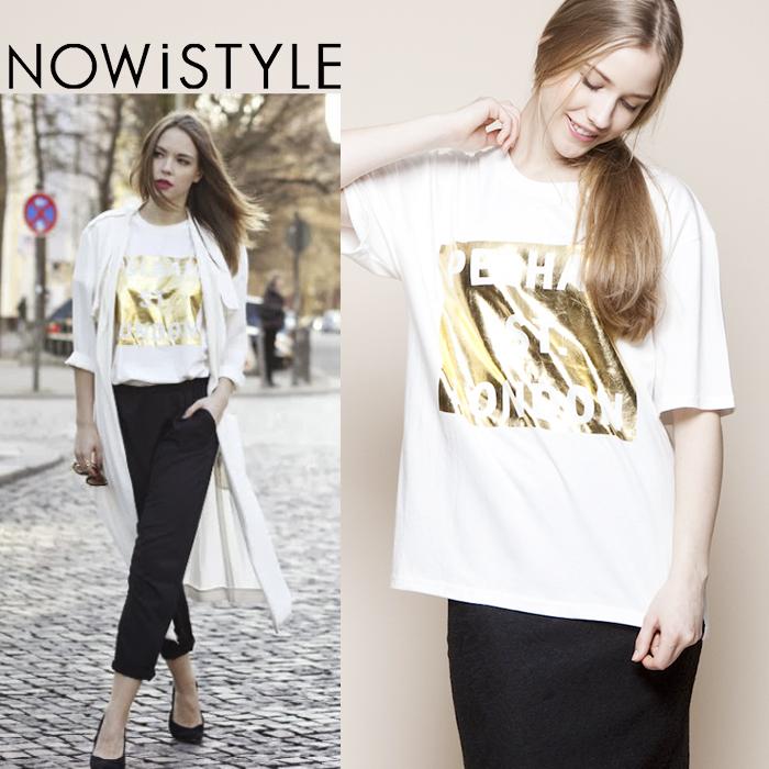ゴールドスクエアプリントTシャツ/春/セレブファッション