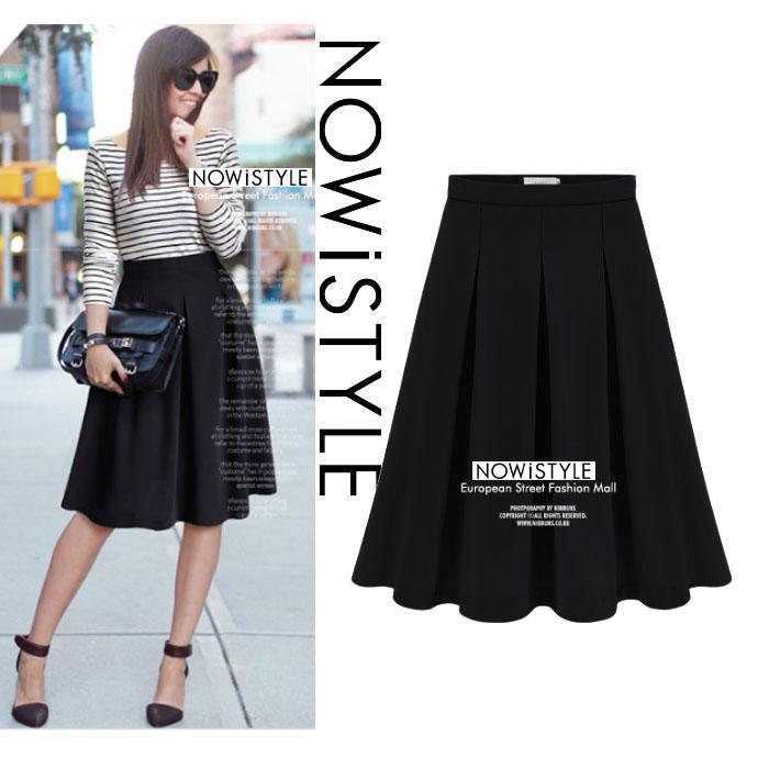 ダーツプリーツミディアムフレアスカート/春/セレブファッション/韓国ファッション