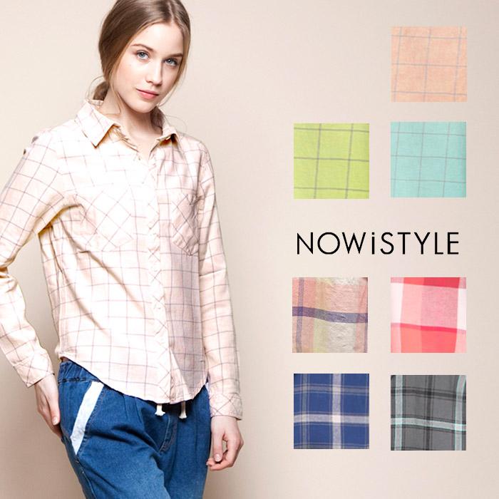 チェックシャツ/パステル/柄/春/セレブファッション