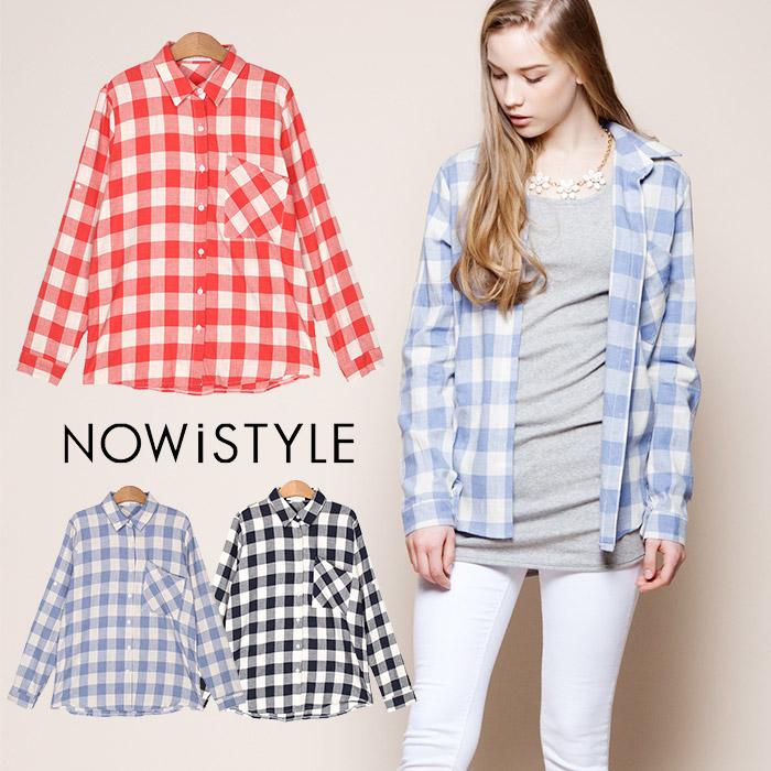 スランティングパターンポケットギンガムチェックシャツ/春/セレブファッション/柄