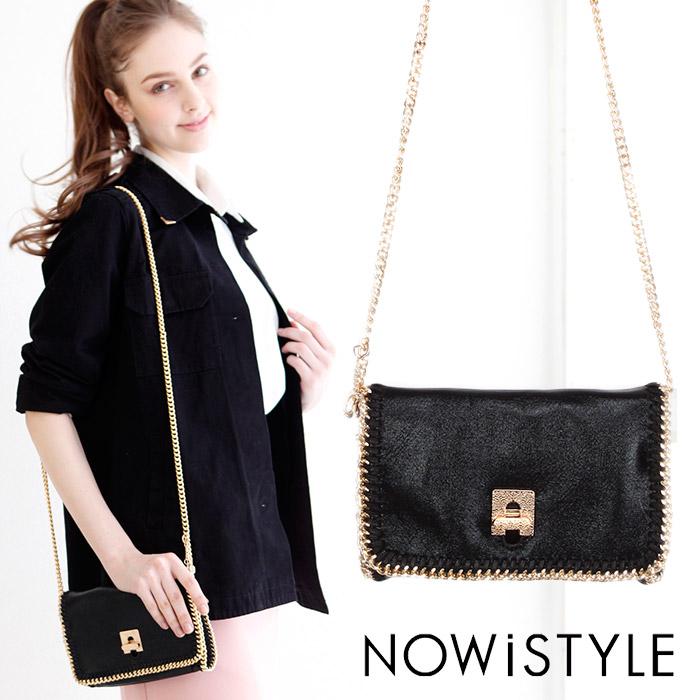 ゴールドチェーンショルダーポシェット/ドレス/春/セレブファッション/ショルダーバッグ