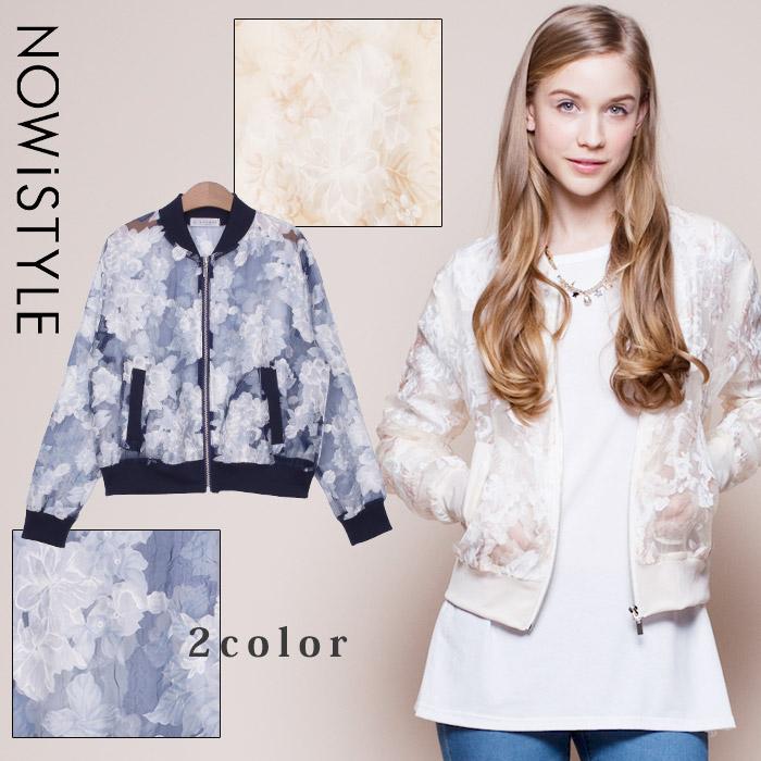 フラワーシースルーブルゾン/コート/花柄/春/セレブファッション/ジャケット
