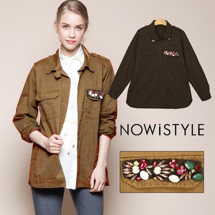 ビジューデコラティブポケットジャンパー/スプリングコート/春/セレブファッション/ジャケット