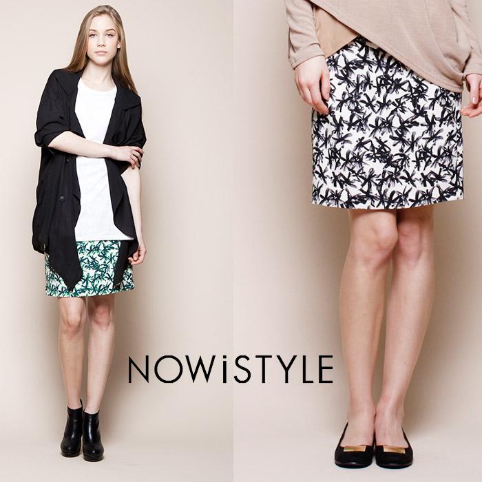 ウエストリボンフラワープリントスカート/花柄/春/セレブファッション