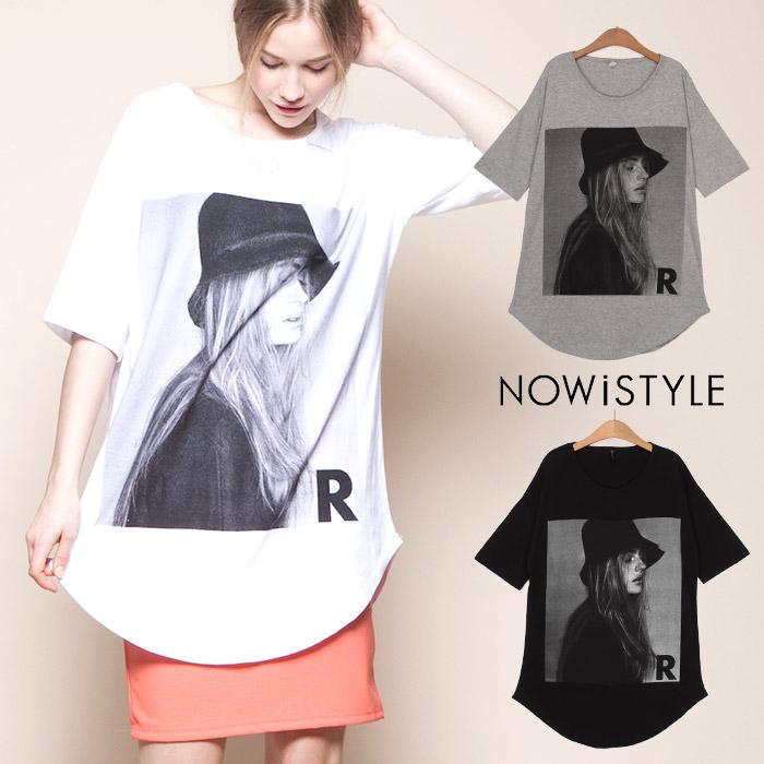シャツ通販〜nowistyleブランドのガールプリントビックTシャツ/春/セレブファッション