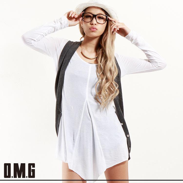 シャツ通販〜O.M.Gブランドの【RXS】O.M.G/オーエムジー/切り替えロングTシャツ/春/シンプル/ベーシック/パステルカラー