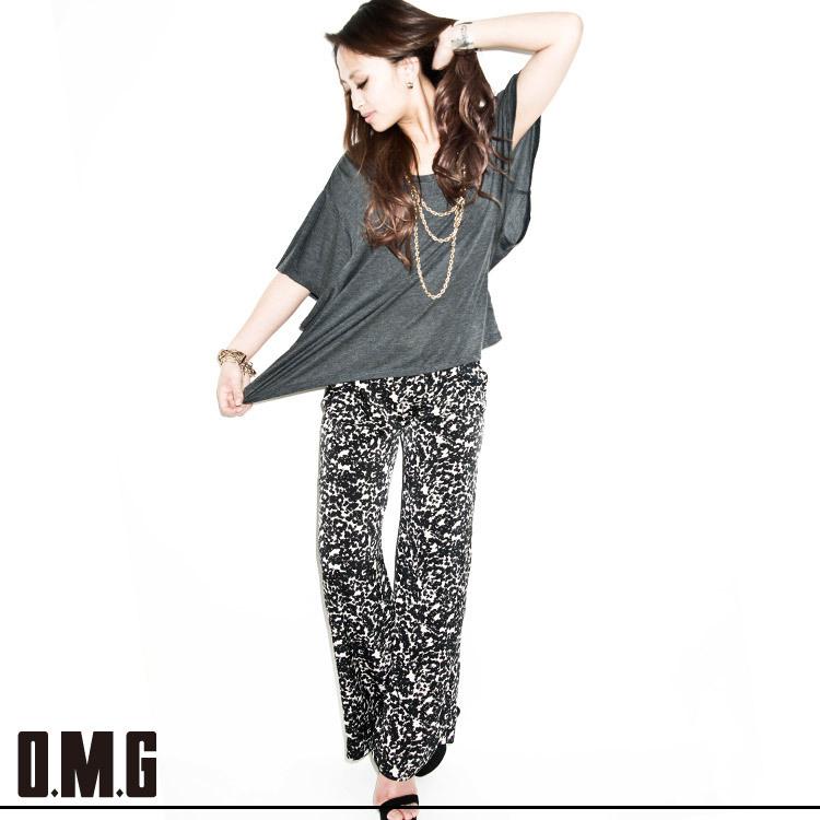 パンツ通販〜O.M.Gブランドの【RXS】O.M.G/オーエムジー/柄フレアーパンツ/春夏