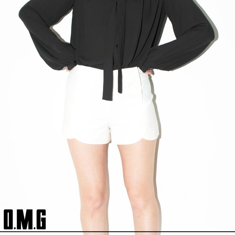 パンツ通販〜O.M.Gブランドの【RXS】O.M.G/オーエムジー/ハイウエストショートパンツ/シンプル/カジュアル/ベーシック/ボタン