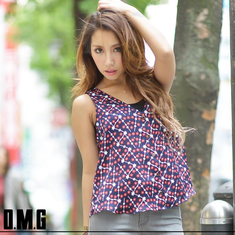 キャミソール通販〜O.M.Gブランドの【RXS】O.M.G/オーエムジー/ノースリ背中割れシャツ/タンクトップ/春夏
