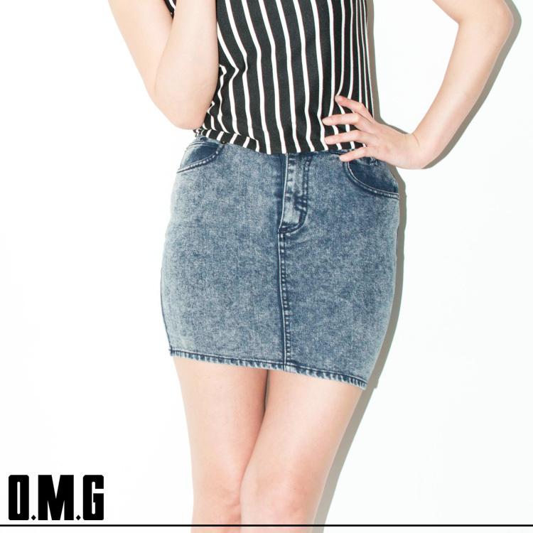 【RXS】O.M.G/オーエムジー/デニムタイトスカート/春夏/シンプル/カジュアル