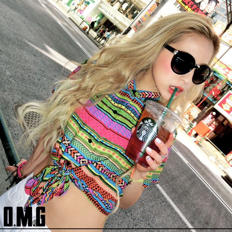 シャツ通販〜O.M.Gブランドの【RXS】O.M.G/オーエムジー【egg 8月号 掲載商品】フロント結びシャツ/春夏/ショート丈/セットアップ