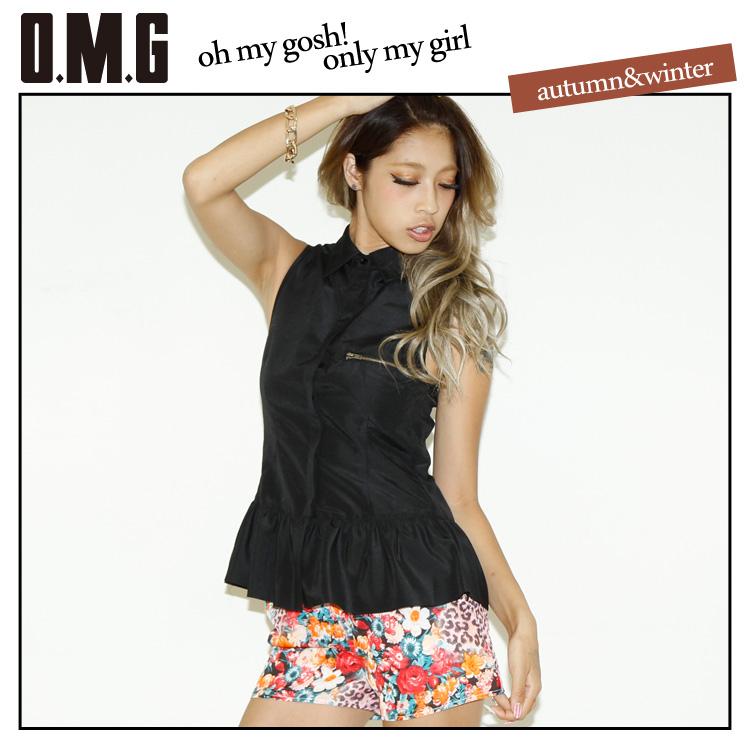 シャツ通販〜O.M.GブランドのO.M.G/オーエムジー/ノースリーブファスナーポケットシャツ/春夏/シンプル/ぺプラム/フリル