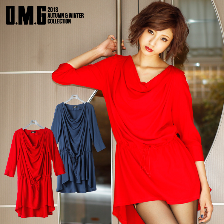ワンピース通販〜O.M.GブランドのO.M.G/オーエムジー/ドレープテールカットドレス
