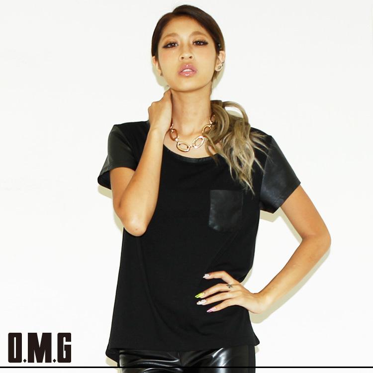 シャツ通販〜O.M.GブランドのO.M.G/オーエムジー/レザーコンビTシャツ/春秋/シンプル/カジュアル/異素材