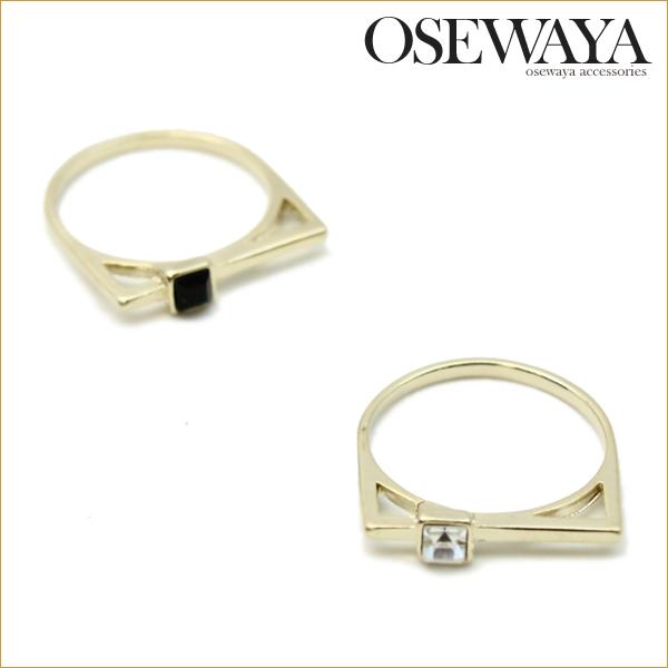リング メタル スクエア アクリルストーン 12号 リング[お世話や][osewaya]指輪