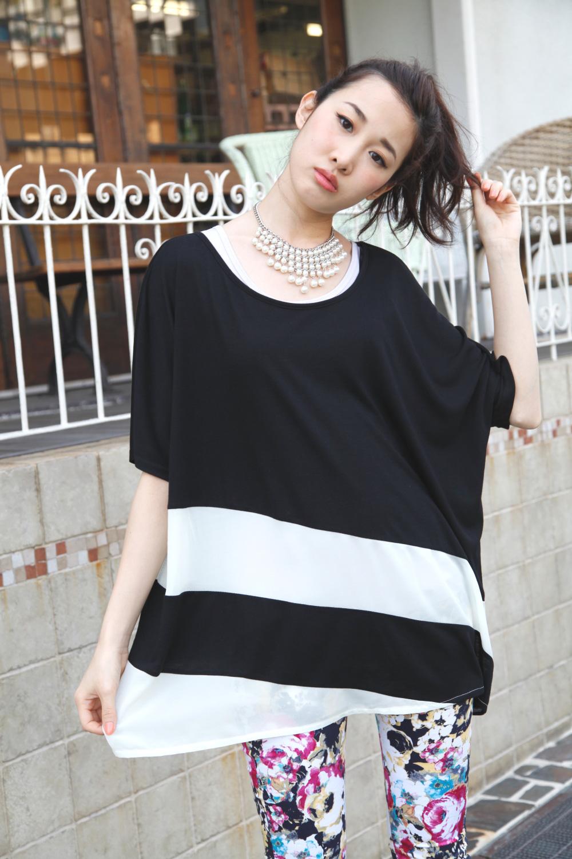 シャツ通販〜PINKsCANTYブランドのシフォンナナメボーダーゆるTシャツ
