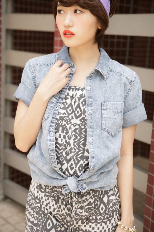 シャツ通販〜PINKsCANTYブランドのヴィンテージロゴ入りデニムシャツ/New♪