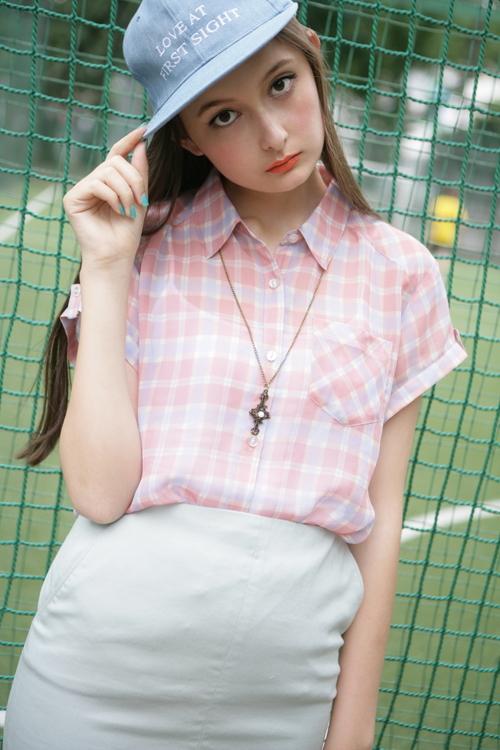 シャツ通販〜PINKsCANTYブランドのシフォンミルキーチェックシャツ