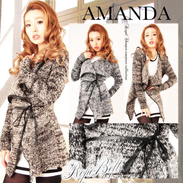 【amanda/アマンダ】腰紐付きジャケット風カーディガン【新作 S/S 春 春物 春カーディガン 春物カーディガン】