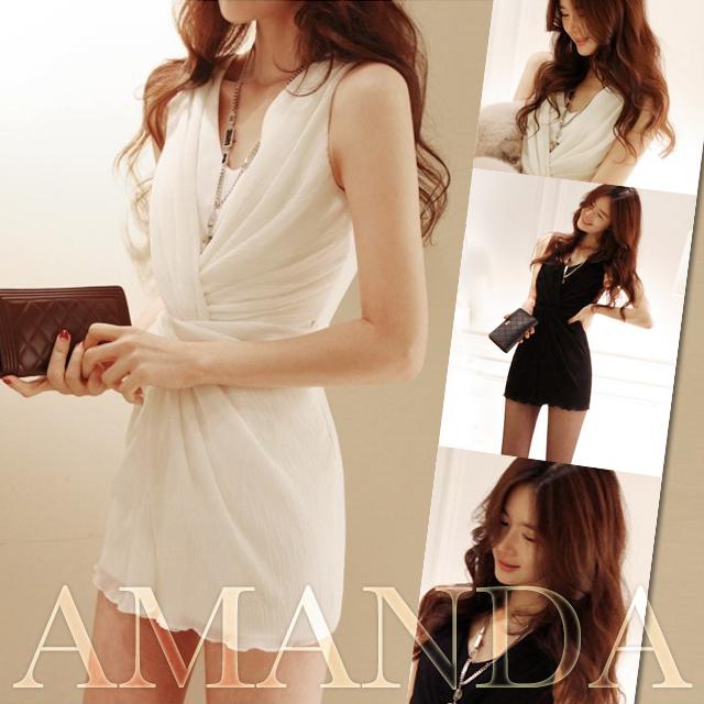 【amanda/アマンダ】シフォン素材が軽やかエアリーなミニ丈クロスデザインワンピースドレス【選べる2カラー〔高貴なブラック〕or〔清楚めホワイト〕】【クラブやパーティーシーンにオス