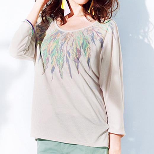 羽柄プリントTシャツ