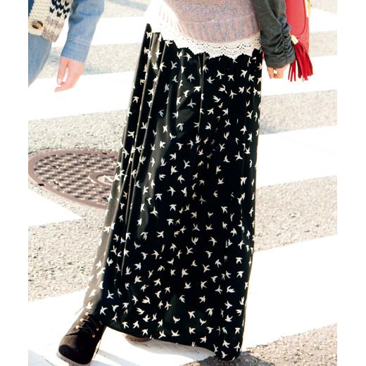 鳥柄マキシ丈スカート