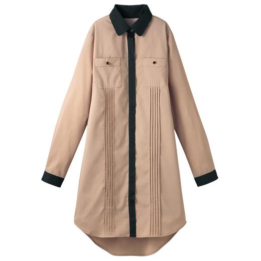 ワンピース通販〜RyuRyuブランドの配色ピンタックシャツワンピース