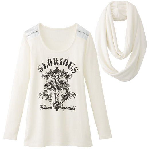 シャツ通販〜RyuRyuブランドのスヌード付クロスプリントTシャツ