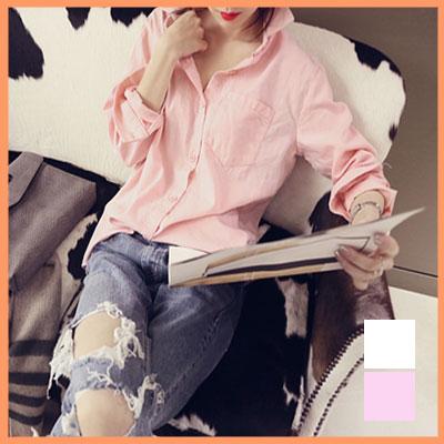 【naning9/ナンニング】シンプルベイシックシャツ★2色 ピンク アイボリー☆シンプル コットン ブラウスシャツ デザイン レデイース 上品 大人 スタイリッシュ 着こなし★b08078