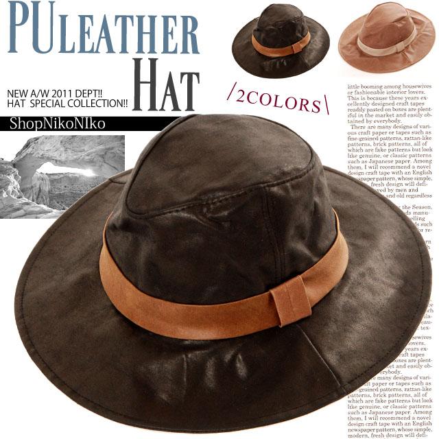 nuts掲載 つば広PUレザーハットチューリップハット帽子
