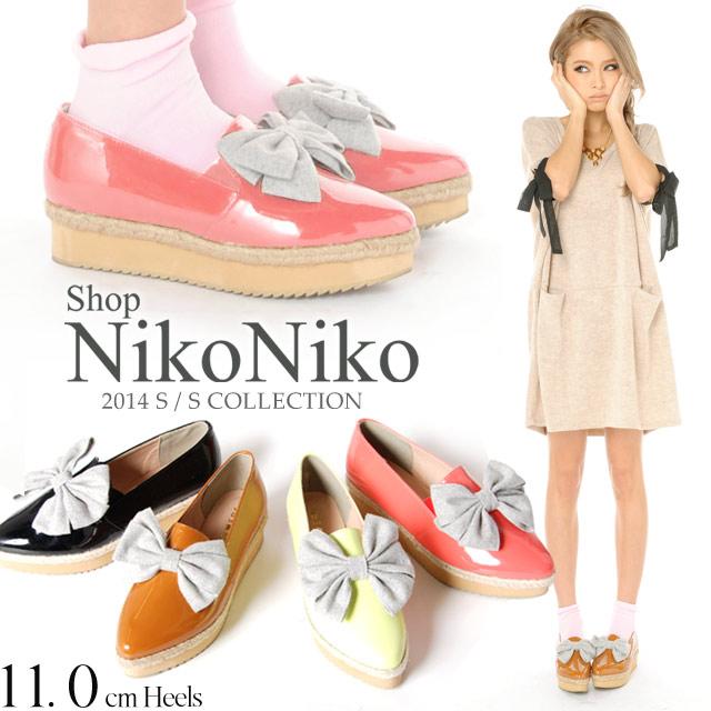 靴通販〜Shop NikoNikoブランドの【LOVERS】厚底スリッポン りぼん ジュート厚底フラットシューズパンプス5554