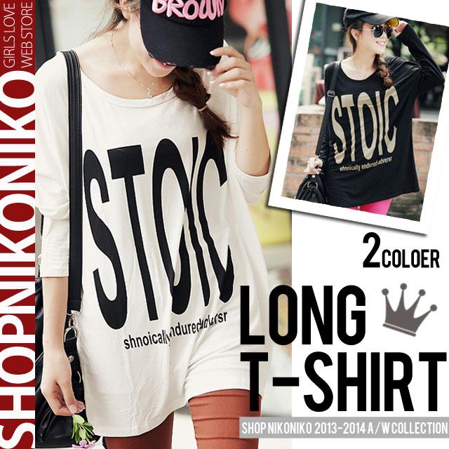 シャツ通販〜Shop NikoNikoブランドの『STOIC』ロゴ入り薄手長袖ロングTシャツ