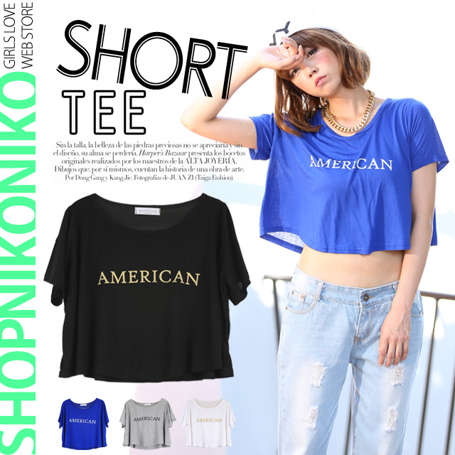 シャツ通販〜Shop NikoNikoブランドのショート丈ロゴプリントTシャツトップス