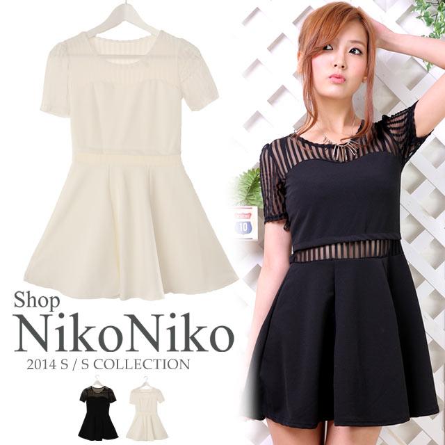 ワンピース通販〜Shop NikoNikoブランドのシースルー切替半袖ワンピース 肌見せドレス
