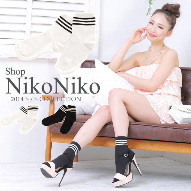 ソックス通販〜Shop NikoNikoブランドの2本ラインボーダーソックス靴下 ライン 白黒 ストライプyb
