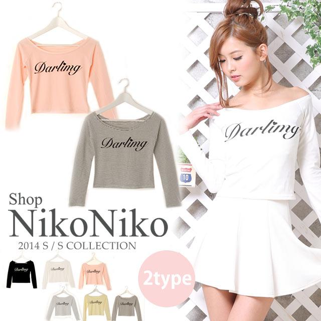 シャツ通販〜Shop NikoNikoブランドのショート丈DarlingロゴTシャツ【即納】ma
