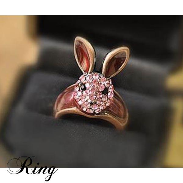 ラインストーン可愛いウサギ指輪リング ピンクラビットod