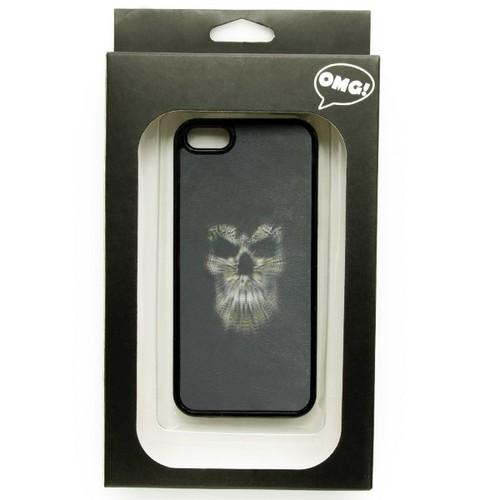 iPhone5対応カバー シンプルスカル柄 3Dホログラム ブラックod