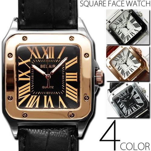 腕時計通販〜shoppers LAブランドの重厚感スクエアフェイスウォッチ腕時計od