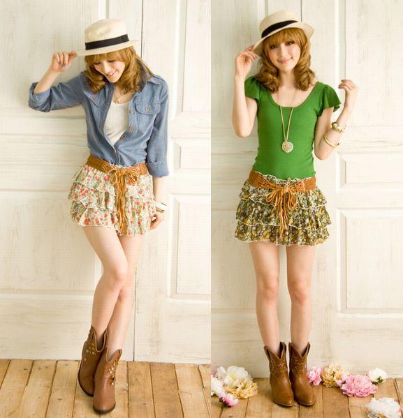 スカート通販〜shoppers LAブランドのシフォン花柄ミニスカートふわふわ3段ティアード