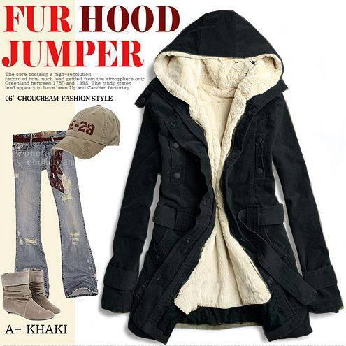 アウター通販〜shoppers LAブランドのガーリーボアのミリタリーフードジャケット