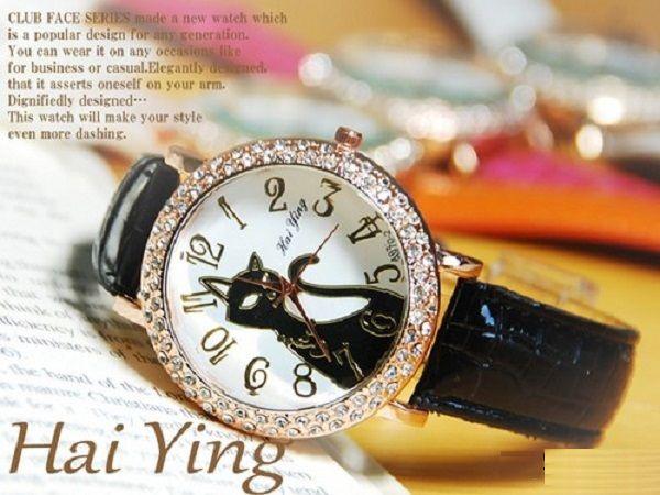 キュート猫ジルコニア本革ドレスウォッチ腕時計od