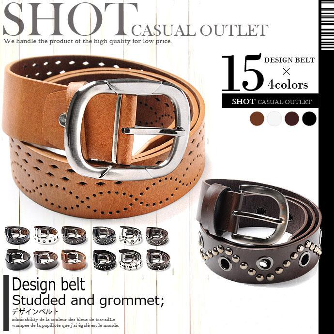 ベルト通販〜SHOT+ブランドの『大きいサイズ』拘りの丸スタッズやハトメを施した本革のようなレザーベルト!コーデのアクセントに最適!デザイン ベルト『F』