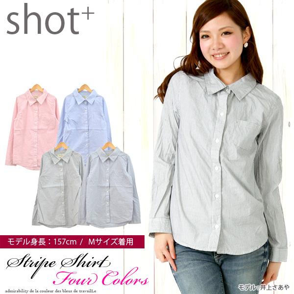 シャツ通販〜SHOT+ブランドのシルエットもタイトでスマートに着こなせる優れものストライプシャツ【90】[36][LT][A]жёθ
