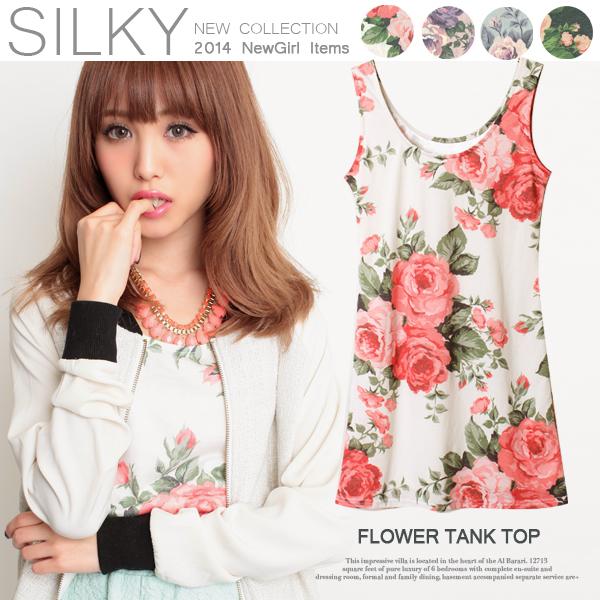 キレイな春色デザインが魅力的♪ヴィンテージ花柄タンクトップワンピース/春夏