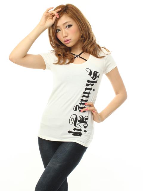 Backバラトライバルプリントベーシック半袖Tシャツ