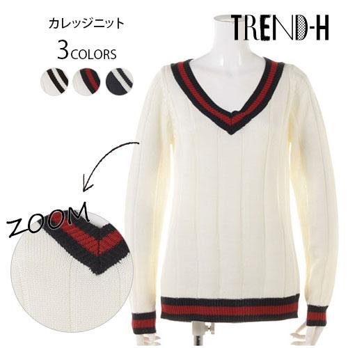 ニット通販〜TREND-H JAPANブランドの【TREND-H】★カレッジニット★今流行りのカレッジ風のライン使いに、トラディショナルムード漂うニットプルオーバー!!ベーシックデザインとして、幅広いテイストとマッチしてくれます♪